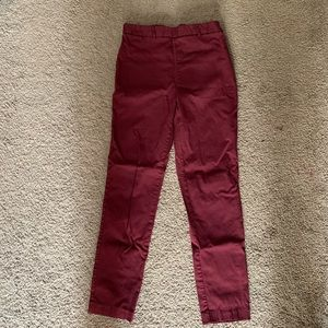 Burgundy Fitted Dress Pants